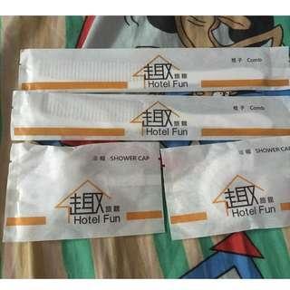HK$5all!台北旅館 旅行梳洗套裝(梳子X2、浴帽X2)