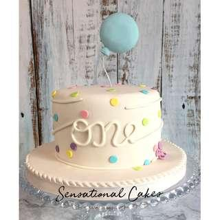 Pastel polka dots with balloon sugar hancrafted design baby birthday 1st year month cake #singaporecake