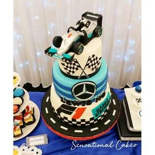 F1 car race inspired theme birthday boy dessert table party #singaporecake