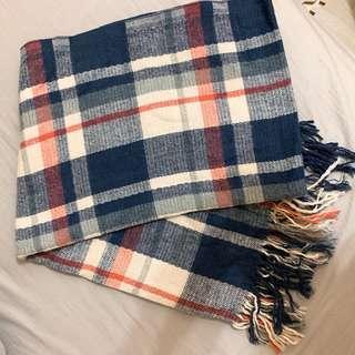 🚚 ❤️近全新 藍色 格子 圍巾
