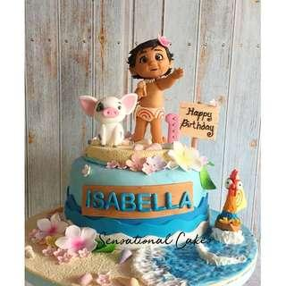 Baby Moana ocean beach theme 3d sugar handcrafted girl theme birthday cake #singaporecake