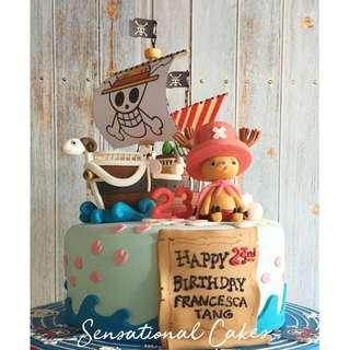 One piece pirate ship inspired theme boys birthday 3d customized cake #singaporecake