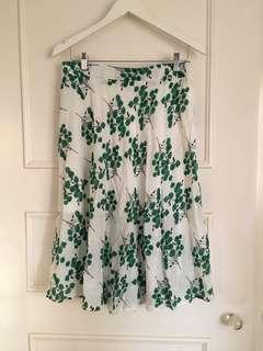 White and green floral pattern midi skirt