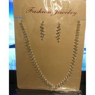 耳環&頸鏈 仿水晶首飾套裝