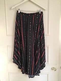 Hollister Navy pattern midi skirt