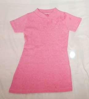 Turtle neck dress pink