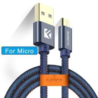 FLOVEME Micro USB 牛仔布 1米 2.1A 快速 充電線 數據線 連皮扣