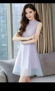 CNY LACE DUAL LAYER CHINESE COLLAR DRESS