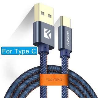 FLOVEME USB Type-C 牛仔布 1米 2.1A 快速 充電線 數據線 連皮扣