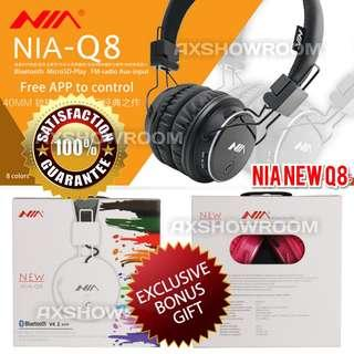 Original NIA Q8 (2018 Edition) Stereo Bluetooth Wireless Headphones Foldable Sport Headsets with Mic Support TF Card & FM Radio