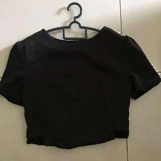 Black Cropped top with Pearl Details