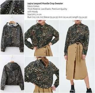 WST 24514 Leopard Hoodie Crop Sweater