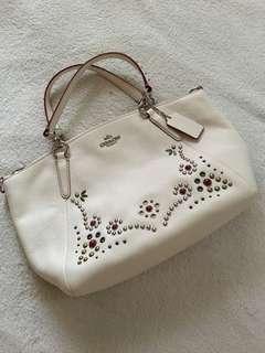 Coach white leather bag