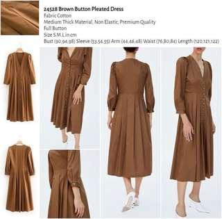 WST 24528 Brown Button Pleated Dress