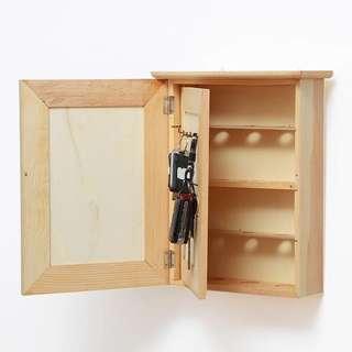 實木鎖鑰盒復古置物架木盒小木櫃
