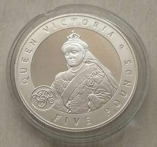 Guernsey 2006 Queen Victoria 5 Pounds Silver Proof Coin In Capsule