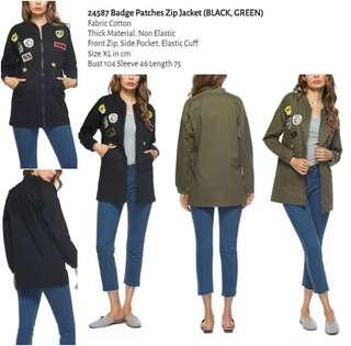 WST 24587 Badge Patches Zip Jacket