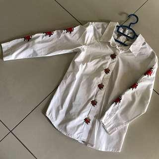 Floral Embroidery White Shirt