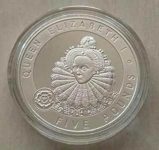Alderney 2006 Queen Elizabeth I 5 Pounds Silver Proof Coin In Capsule