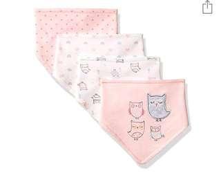 🚚 BN Rene Rofe Baby Girl Set of 4 Bandana Owl Bibs 0mths up
