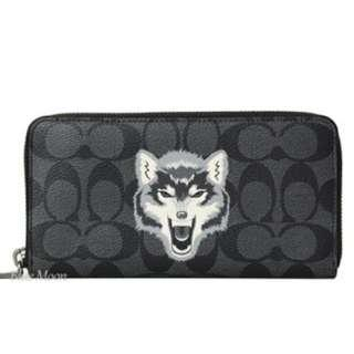 Authentic Coach F31520 Accordion Wallet With Wolf Motif