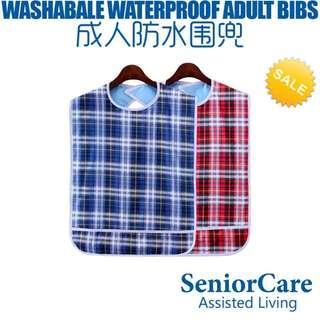 Waterproof Adult Bibs – Washable & Reusable Red