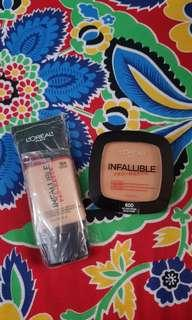 🚚 Loreal infallible pro matte foundation and powder golden beige