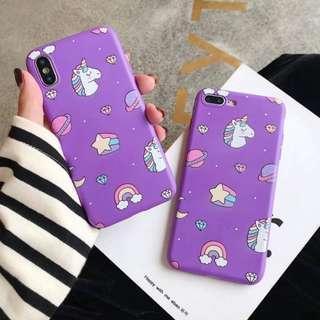 Purple unicorn design phone case