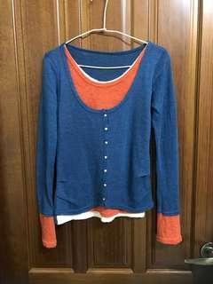 圓領 長袖 針織衫 假三件 多層穿搭風 藍色 米色 橘色