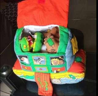 Early learning center noah's ark ship carry pillow with plush animals