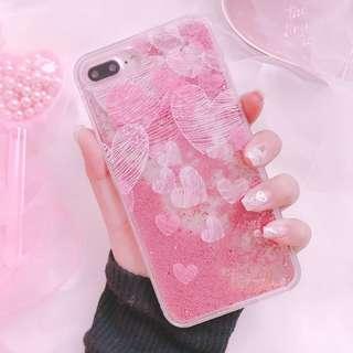Heart quicksand pink glitter liquid phone case