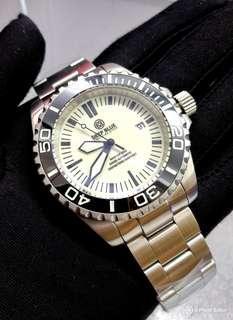 Brand New DEEPBLUE Master 2000 Black Bezel White Luminous Dial Mens Swiss Automatic Divers Watch