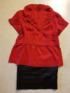 🌹BN CNY (plus size) RED top with black pencil shirt