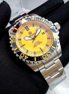 Brand New DEEPBLUE Master 2000 Orange Luminous Dial with Black Ceramic Bezel Swiss Automatic Mens Diver Watch