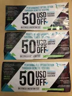 Discount vouchers 50 USD OFF DNA CODE