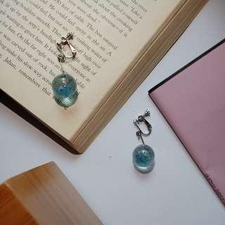 透明感藍色球球耳環(可改夾)