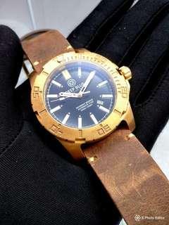Brand New DEEPBLUE Bronze Tritium Tubes Automatic Menz Black Dial Divers Watch