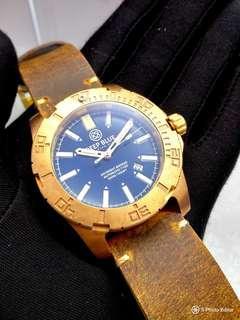 Brand New DEEPBLUE Bronze Blue Dial Tritium Tube Mens Automatic Diver Watch