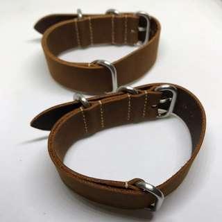 CNY SALE : Premium Genuine Leather 20mm Watch Zulu Strap Dark Brown Colour
