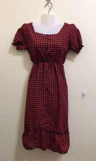 Red Checkered Dress size S-M