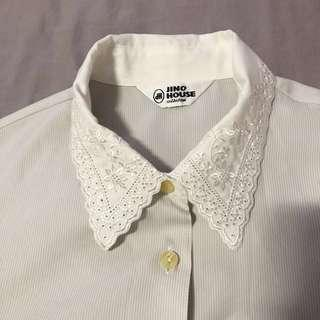 White Embroidered Collar Vintage Shirt Blouse Top