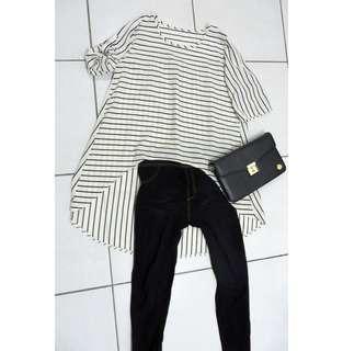 🚚 OL條紋造型上衣 L-XL