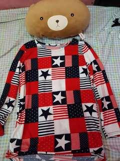 Red & Blue Stars Top