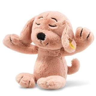 New Steiff Soft Cuddly Stuffed Toy Dog Peach Pink (40cm)
