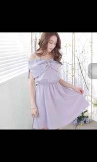 🚚 東京著衣-紫色ㄧ字領洋裝