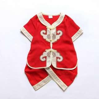 Red Romper Boys Cheongsam Chinese Traditional Outfits