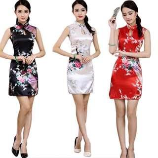 Free Shipping Promotion-15-25 Days Shipping Time for Women Traditional Cheongsam Silk Satin Elegant Sexy Hollow Dress