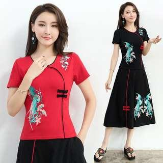Free Shipping Promotion-15-25 Days Shipping Time for Women Summer Embroidery T-Shirt Chinese Style