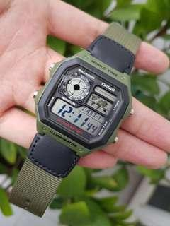 Guarantee 100% authentic Brand new Casio Watch Or Full Refund. Water Resistant 100M, Illuminator, Green Nylon Band watch AE1200  (only 1 instock,  rarely found in shops) AE-1200WH-1BV Casio unisex watch, Cabin crew,  ae1200wh ae1200whb watch sale