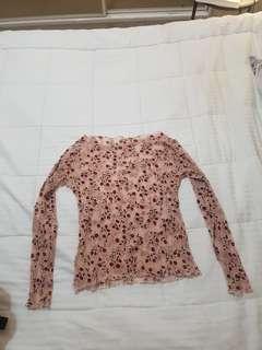 Floral rose mesh top